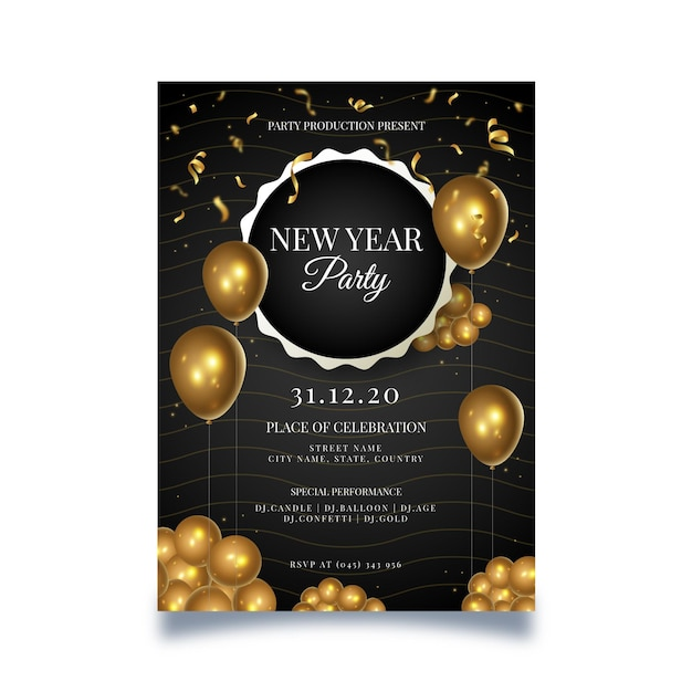 New year poster with balloons Free Vector