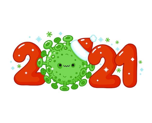 クリスマスの帽子の文字で怖いウイルスセルで新年のプリント。メリークリスマスカード。ベクトル線漫画カワイイキャラクターイラストアイコン。白い背景で隔離。 2021年の新年のコンセプト Premiumベクター
