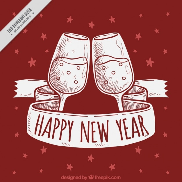 new year red background with toast and hand drawn ribbon free vector
