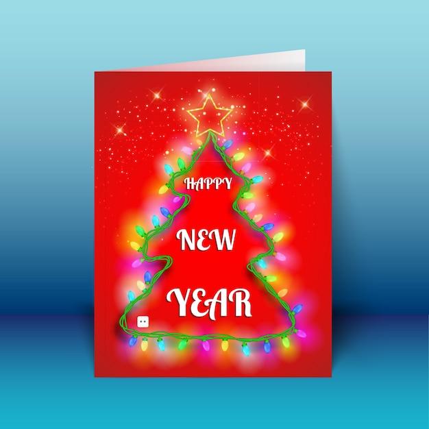 파란색 배경 벡터 일러스트 레이 션에 크리스마스 트리 모양에 빛 갈 랜드와 함께 새 해 빨간 인사말 카드 무료 벡터