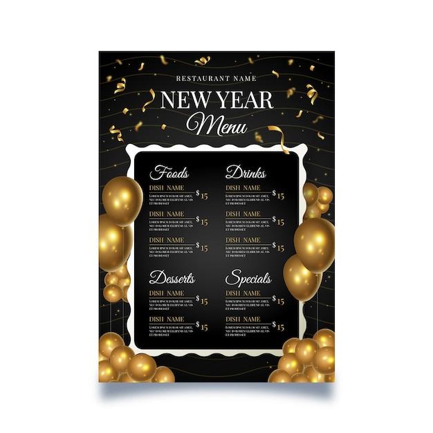 New year restaurant menu template Free Vector