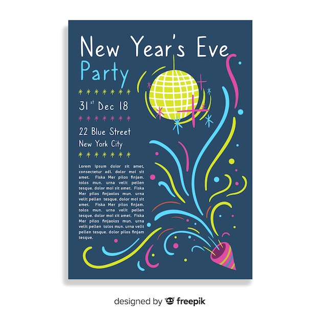 New year's eve party banner Free Vector