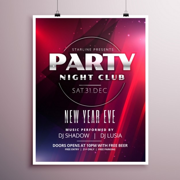 new year 39 s eve party poster template vector free download. Black Bedroom Furniture Sets. Home Design Ideas