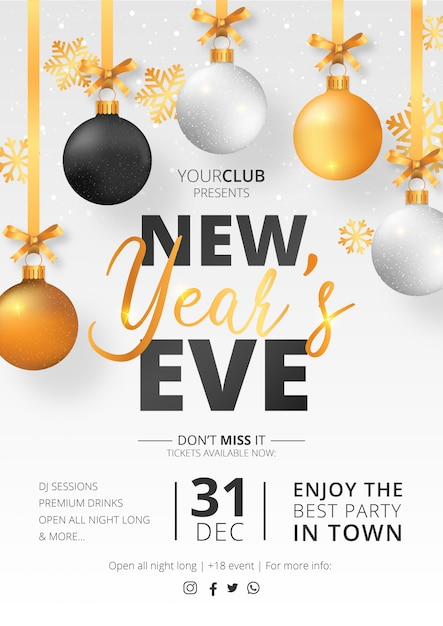 New year's eve party poster template Free Vector