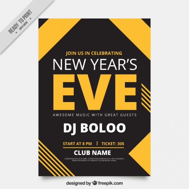 New year\'s eve poster template with geometric\ shapes