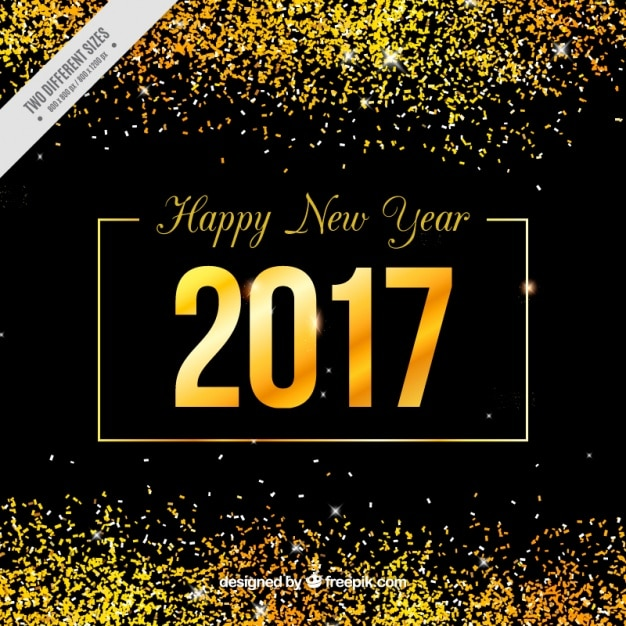 New year\'s golden background with\ glitter