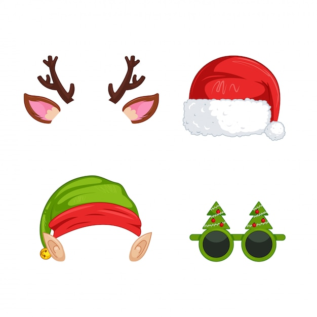 New year's masks for photos Free Vector