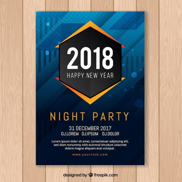 New year\'s party abstract poster in dark blue\ with orange elements