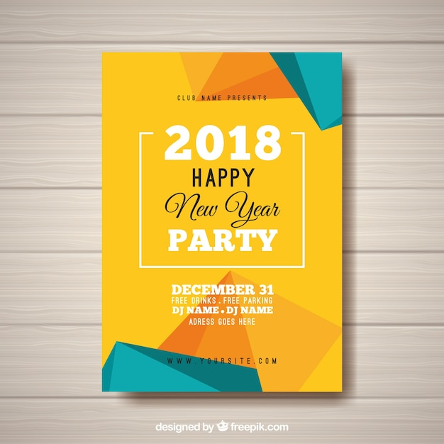 New year's party abstract poster in yellow and turquoise Free Vector