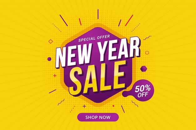 New year sale discount banner template promotion Premium Vector