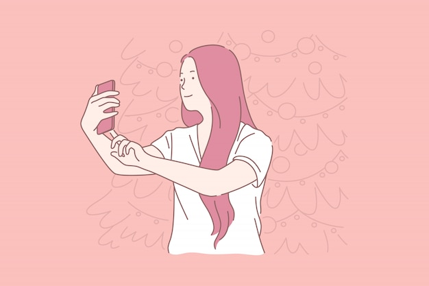 Новогоднее селфи, женщина фотографирует концепцию Premium векторы