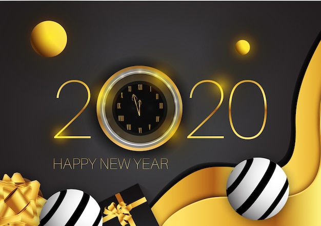 New year shining background with gold clock glitter, gold gift box and abstract modern shape Premium Vector