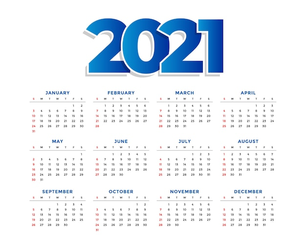 New year simple calendar  template Free Vector