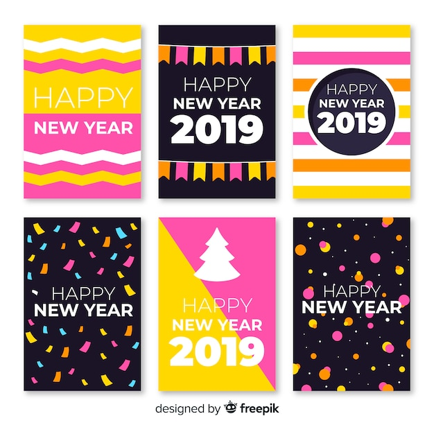 New year simple cards pack Free Vector