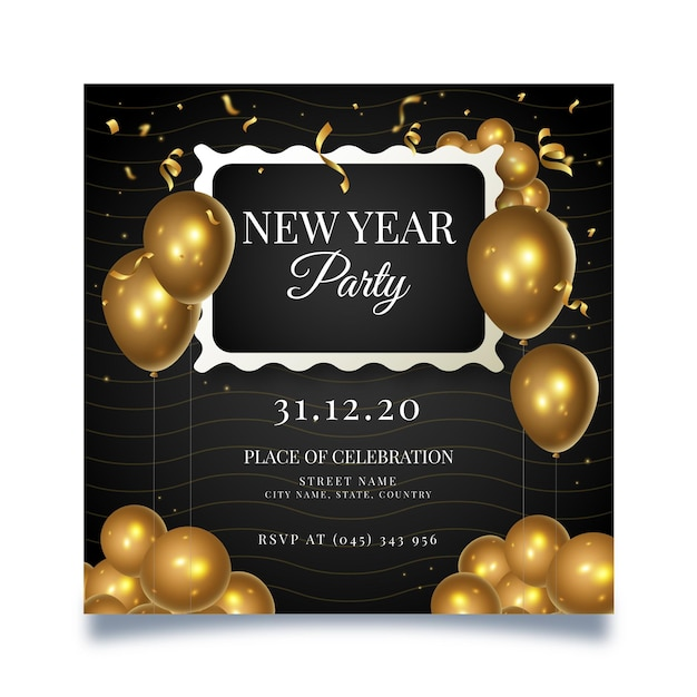 New year square flyer template Premium Vector
