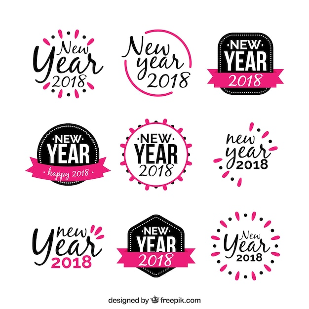New year sticker in black and pink Free Vector