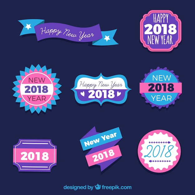 New year stickers in blue and pink tones