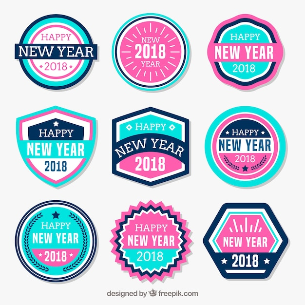 New year stickers in pink and blue