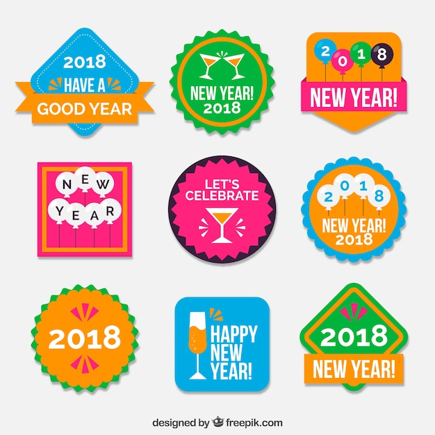 New year stickers pack