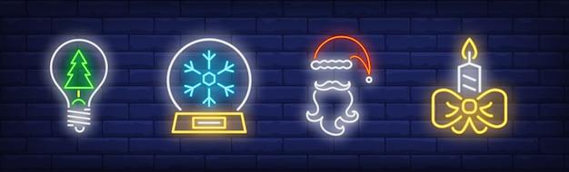 Simboli di capodanno impostati in stile neon Vettore gratuito