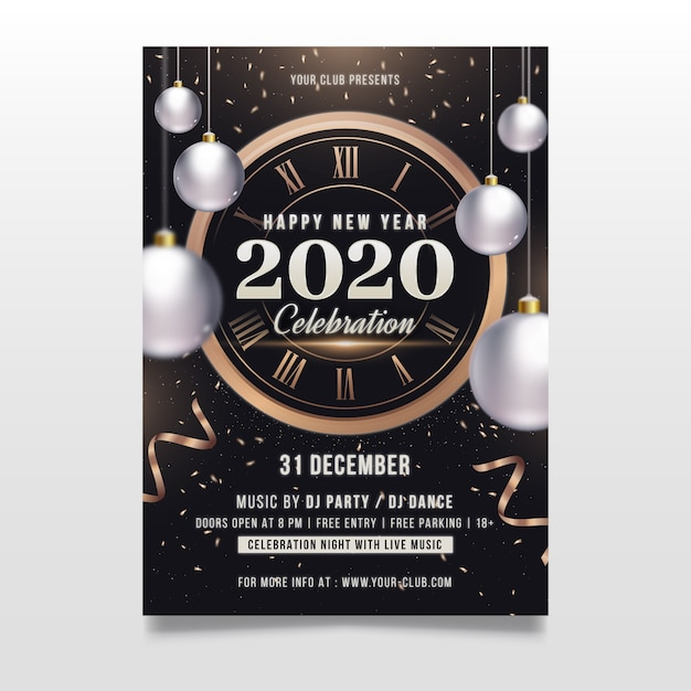 New year template concept for party Free Vector