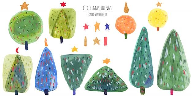 New year trees green watercolor bundle Premium Vector