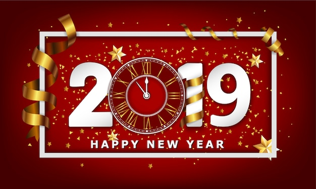 New year typographical background 2019 with clock Premium Vector