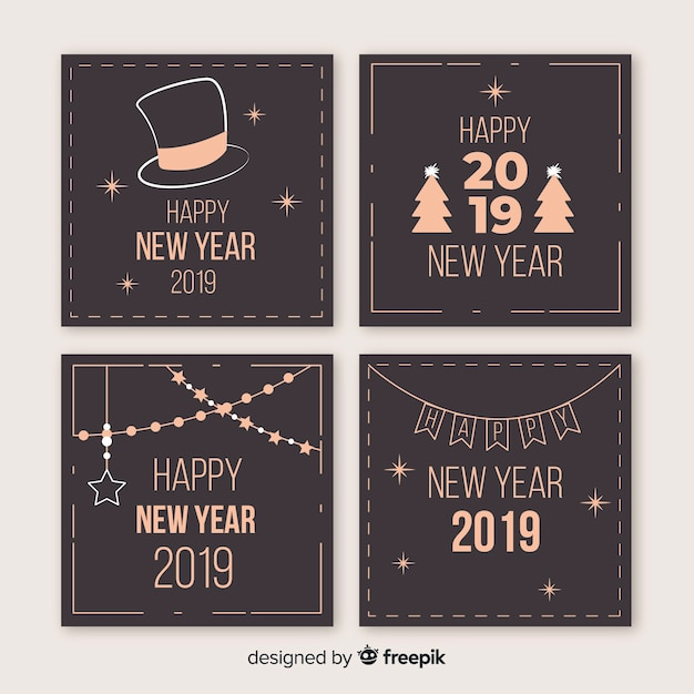 New year vintage aspect cards pack Free Vector