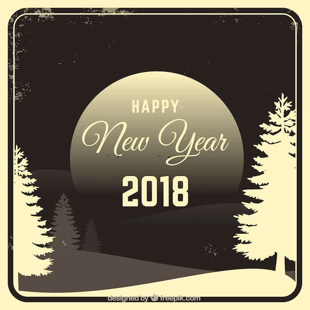 New year vintage background with landscape 2018 Free Vector