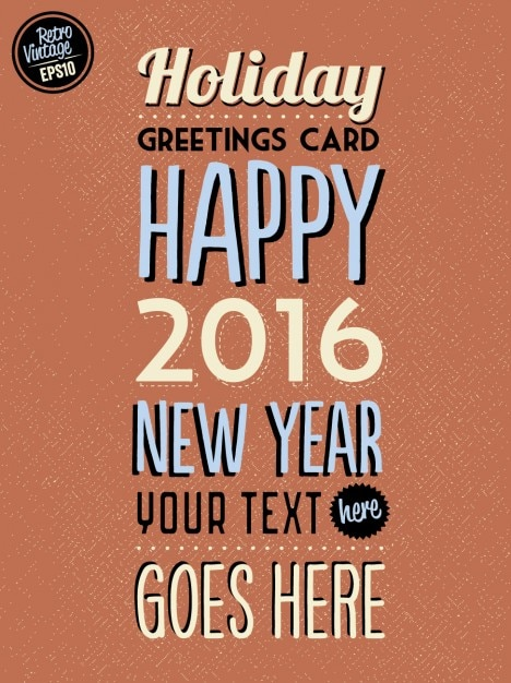 new year vintage card template free vector