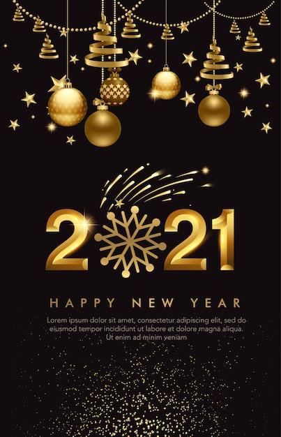 Новый год с золотой гирляндой и шарами Premium векторы