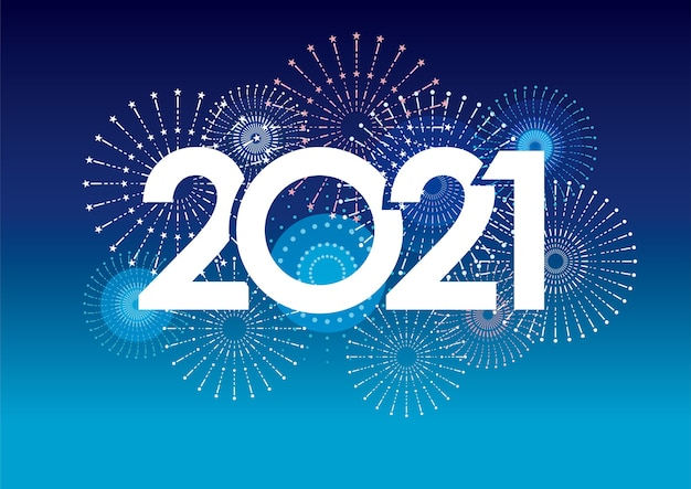 New years 2021 greeting card with fireworks Free Vector