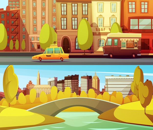 New york banners with city transport in downtown and central park in island manhattan Free Vector