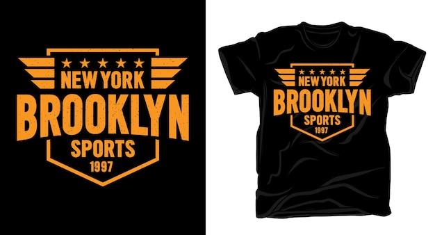 Нью-йорк, бруклин, спортивный дизайн типографики для футболки Premium векторы
