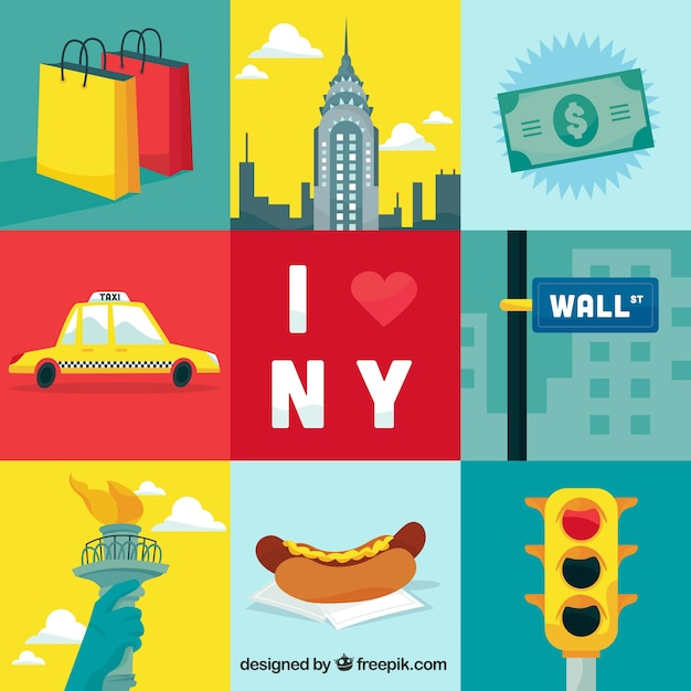 Très New York City Elements Illustration Vector | Premium Download XL02