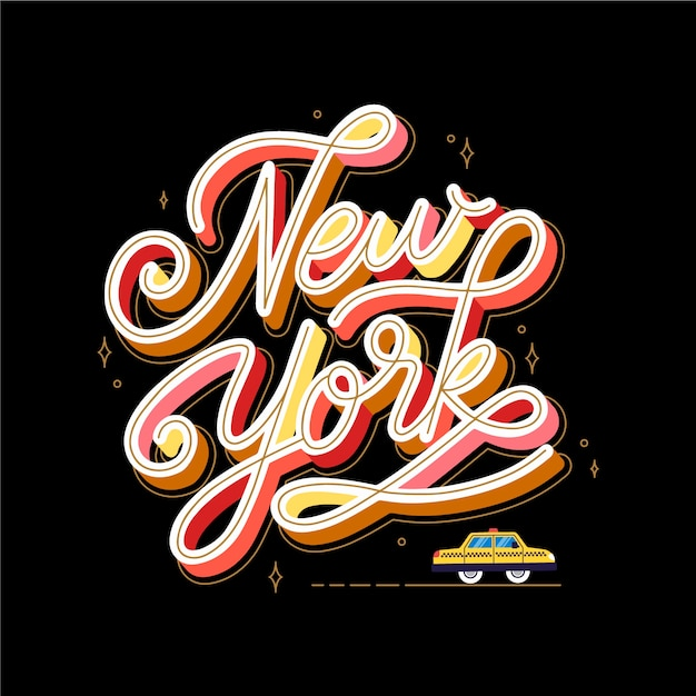 New york city lettering background Free Vector