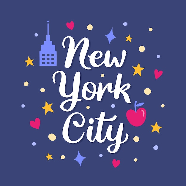 New york city lettering Free Vector
