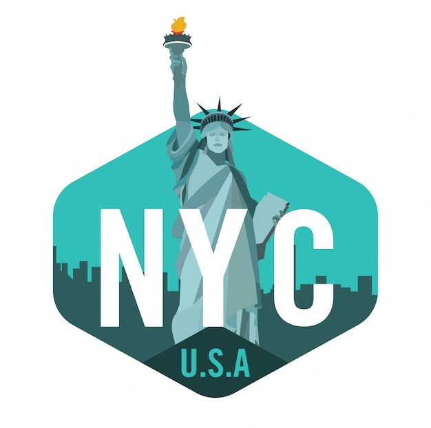 New York City Logo With Statue Of Liberty Premium Vector