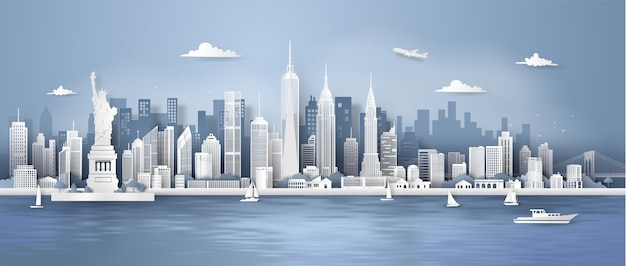 New york city panorama skyline Premium Vector