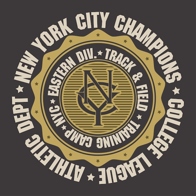 New york city sport wear typography emblem, t-shirt stamp graphics, tee print, athletic apparel . Premium Vector