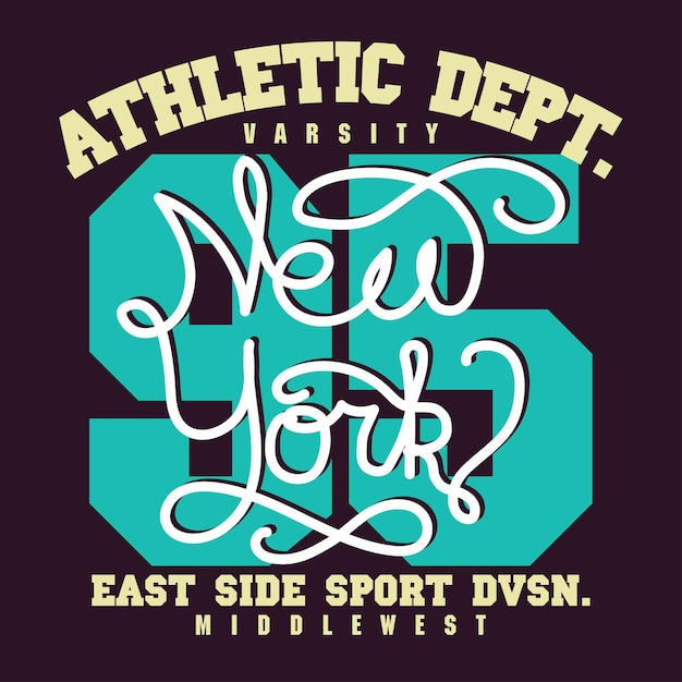 New york city sport wear typography emblem, t-shirt stamp graphics, tee print, athletic apparel . Premium Vector
