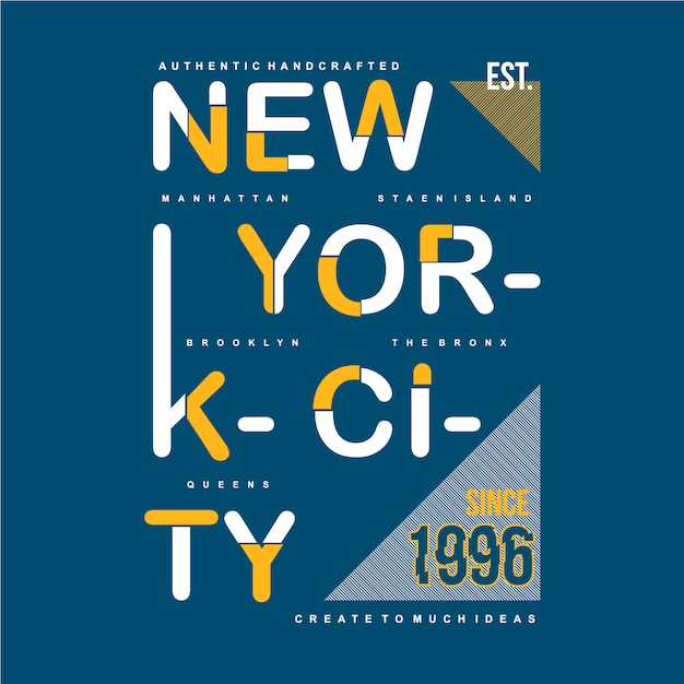 New york city typographic design apparel clothing Premium Vector