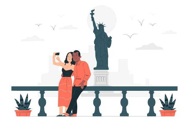Illustrazione di concetto di new york Vettore gratuito