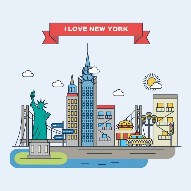 New york flat illustration Free Vector