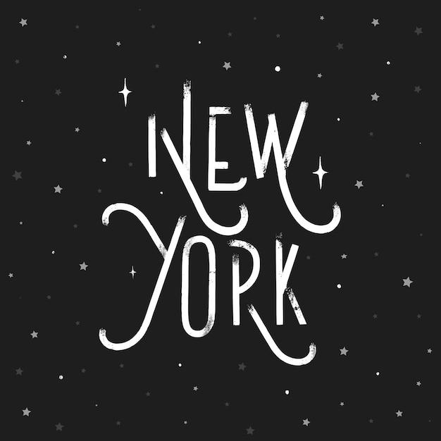 New york - grunge hand lettering inscription vector. Premium Vector