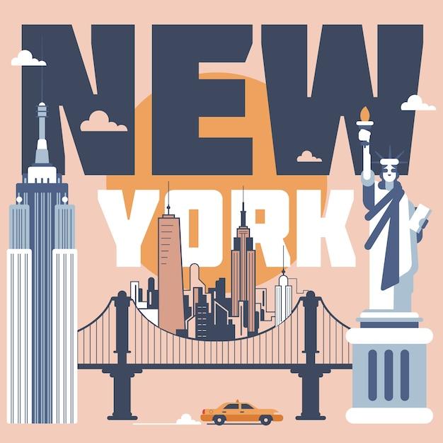 Illustrazione di punti di riferimento di new york Vettore gratuito