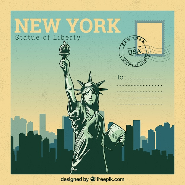 New york postcard template with hand drawn style Free Vector