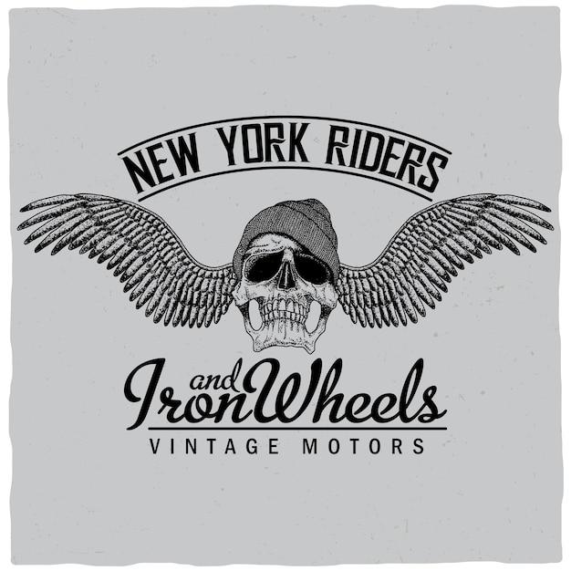 Poster di new york riders con teschio in cappello e ali illustrazione Vettore gratuito