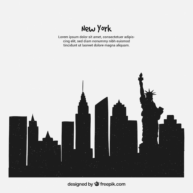 Concetto di skyline di new york Vettore gratuito