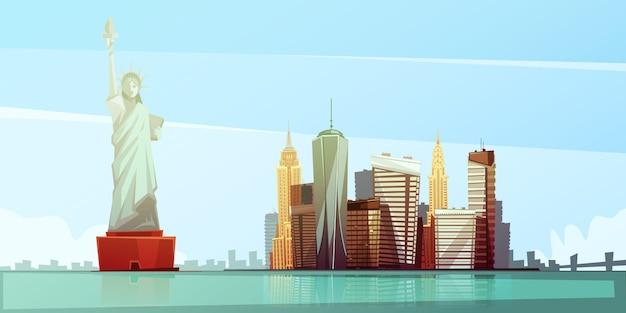 Концепция дизайна горизонта нью-йорка со статуей свободы эмпайр стейт билдинг, здание крайслер освобождено Бесплатные векторы